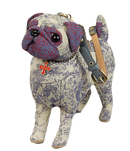 Fuzzy Nation Pug Blue Paisley handbag