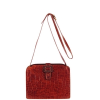Furla Vintage Leather Croc Effect Frame Shoulder Bag