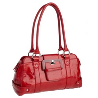 Red enamel buckle shoulder bag