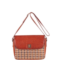 Aquascutum Vintage Classic Check Front Leather Shoulder Bag